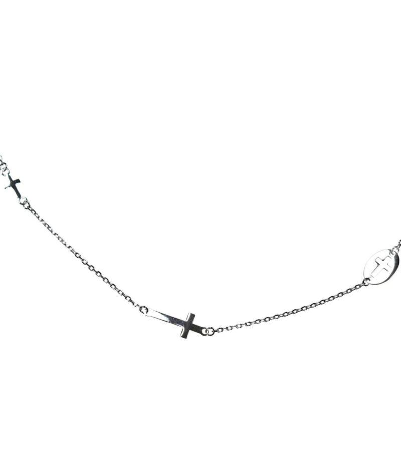 naszyjnik srebro próba 925 z trzema krzyżykami gładki
