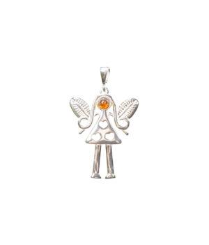 wisiorek srebro próba 925 bursztyn koniak aniołek z serduszkami duży