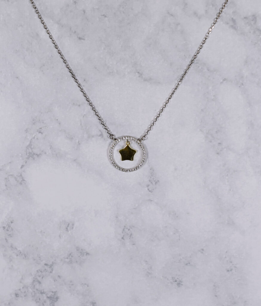 naszyjnik srebrny próba 925 kółeczko z gwiazdką pozłacaną