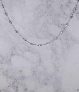 naszyjnik srebrny próba 925 z białymi perełkami