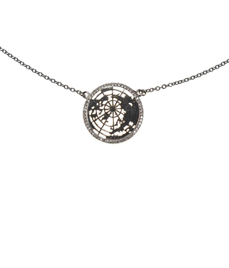 naszyjnik srebrny próba 925 z globusem cyrkoniami