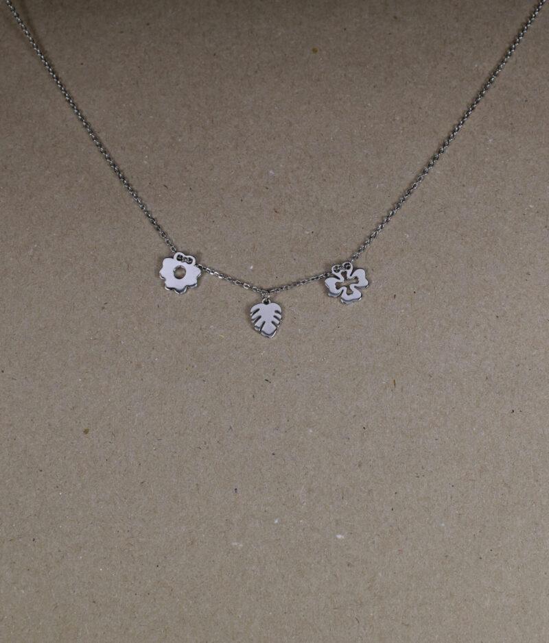 naszyjnik srebrny próba 925 z koniczynką liściem i kwiatkiem gładkie