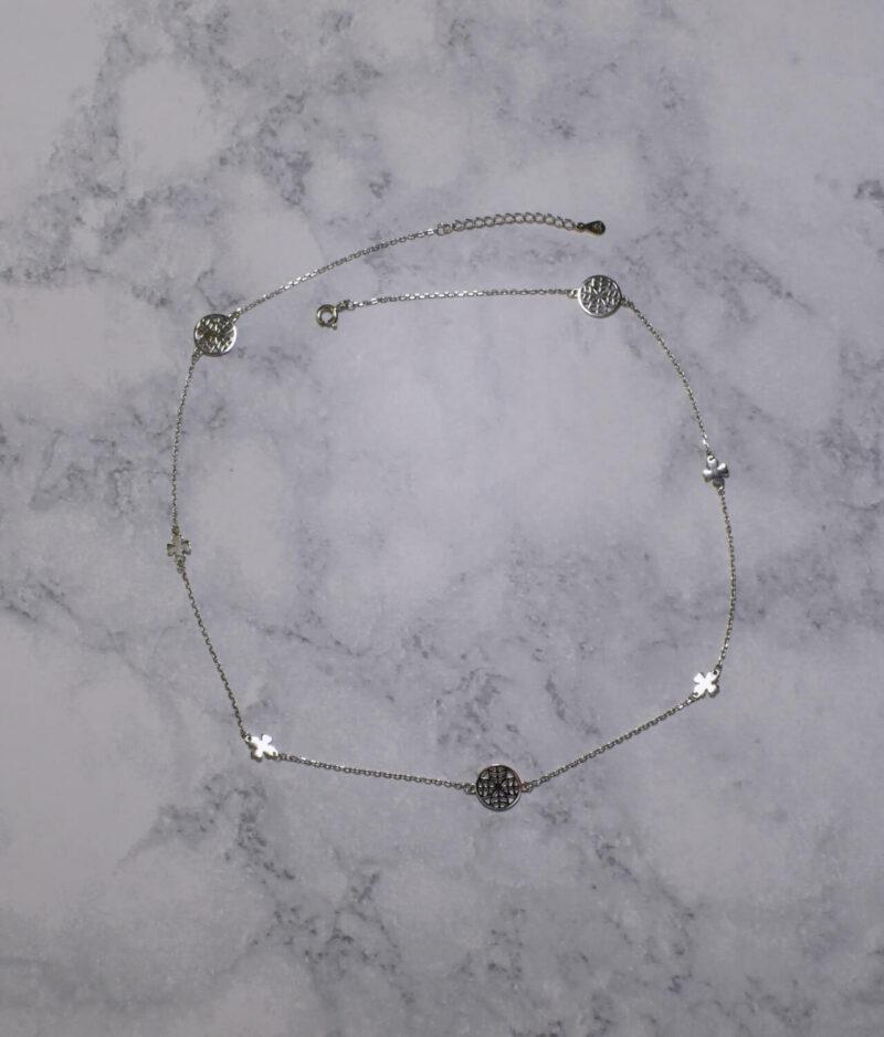 naszyjnik srebrny próba 925 z koniczynkami ażurowymi i gładkimi