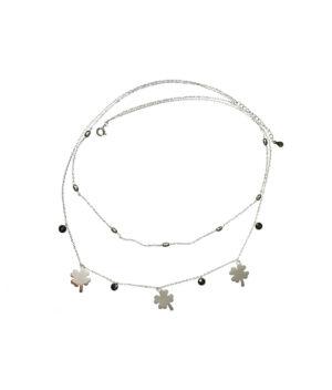 naszyjnik srebrny próba 925 z koniczynkami koralikami gładkie podwójny łańcuszek