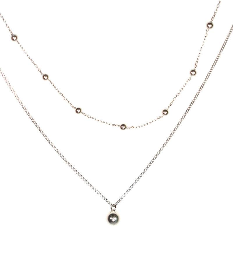 naszyjnik srebrny próba 925 z kuleczkami gładkie na dwóch łańcuszkach