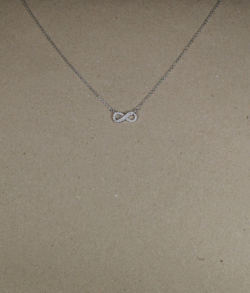 naszyjnik srebrny próba 925 z nieskończonością z cyrkoniami