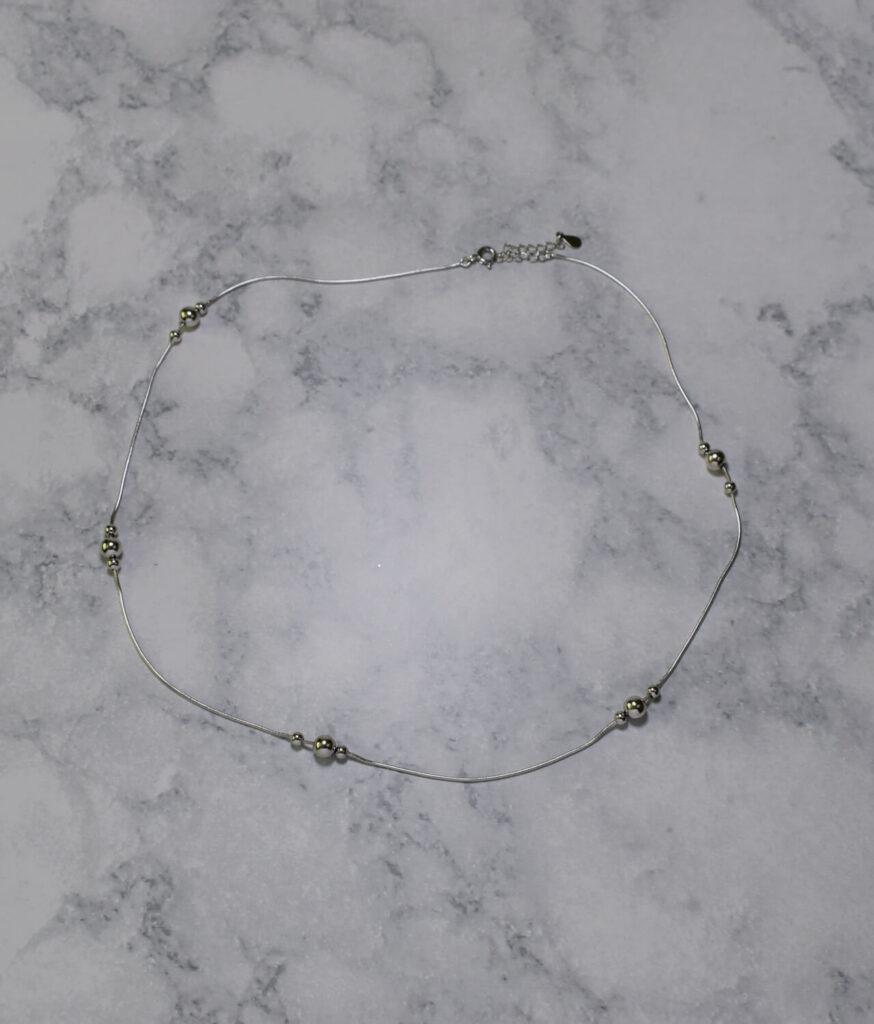 naszyjnik srebrny próba 925 z trzema kuleczkami gładki