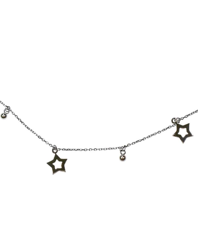 naszyjnik srebro próba 925 z gwiazdkami wiszące i kuleczkami gładkie
