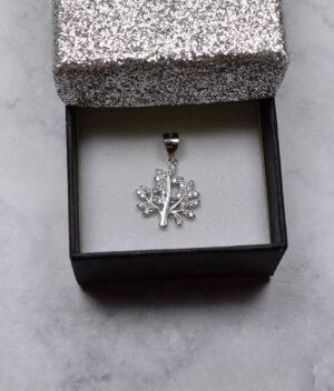 wisiorek srebrny próba 925 drzewko szczęścia z cyrkoniami mały
