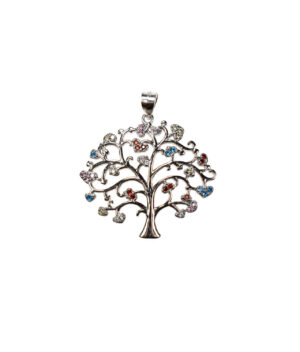 wisiorek srebrny próba 925 kolorowe drzewko z cyrkoniami