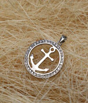 wisiorek srebrny próba 925 kotwica w kółeczku z cyrkoniami