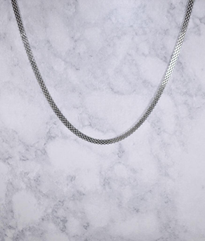 łańcuszek srebrny próba 925 ozdobna taśma szerokość 4mm długość 50cm