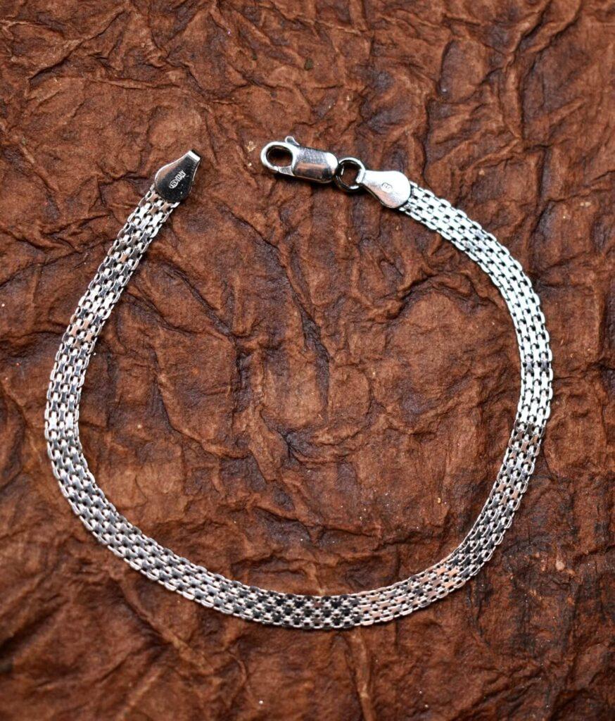 bransoletka srebrna próba 925 ozdobna taśma rodowana 18cm