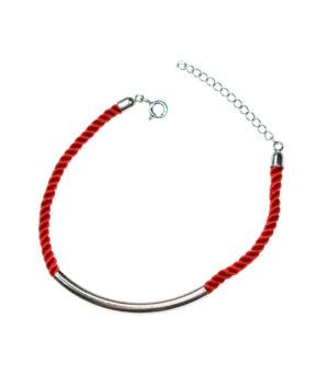 bransoletka srebro próba 925 rurka gładka sznurkowa czerwona