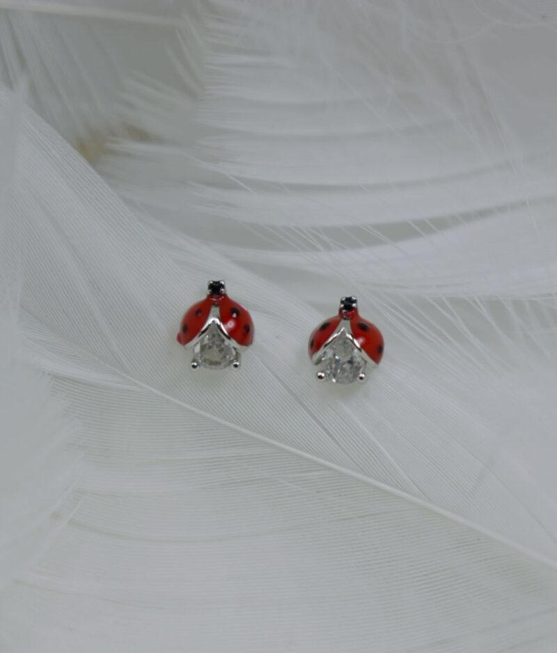kolczyki srebrne próba 925 biedronki z cyrkonią na sztyft