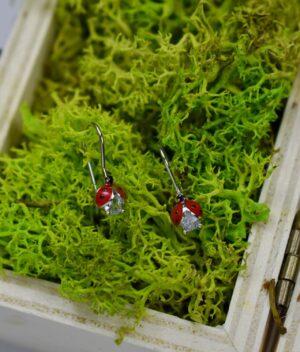 kolczyki srebrne próba 925 czerwone biedronki z cyrkonią wiszące