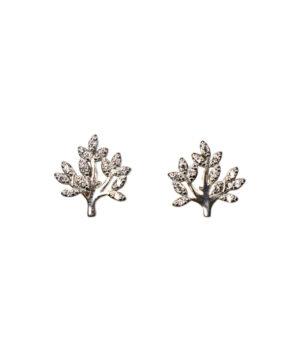 kolczyki srebrne próba 925 drzewko malutkie z cyrkoniami na sztyft