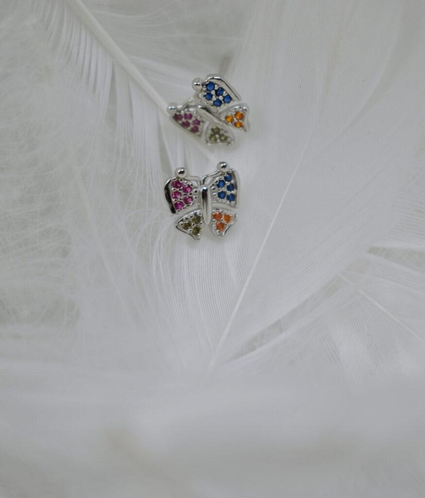 kolczyki srebrne próba 925 kolorowe motylki punkciki na sztyft