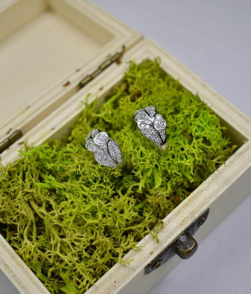 kolczyki srebrne próba 925 listek z cyrkoniami drobne zapięcie angielskie klik