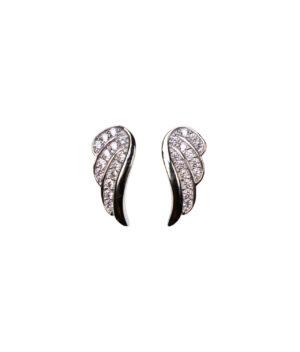 kolczyki srebrne próba 925 ze skrzydełkami i cyrkoniami na sztyft