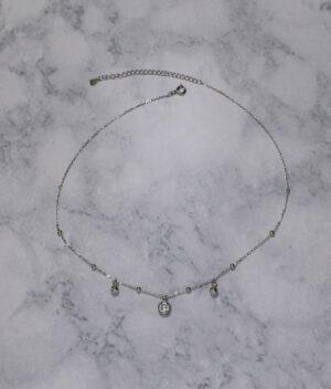 naszyjnik srebrny próba 925 choker z cyrkonią i kuleczkami