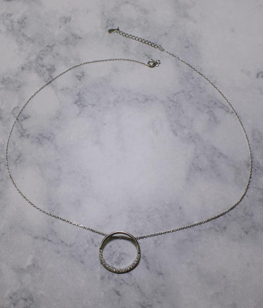 naszyjnik srebrny próba 925 kółeczko z cyrkoniami duże