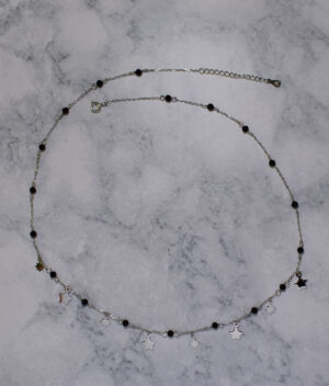 naszyjnik srebrny próba 925 z wiszącą gwiazdką i kuleczkami