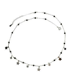 naszyjnik srebrny próba 925 z gwiazdkami i koralikami czarnymi