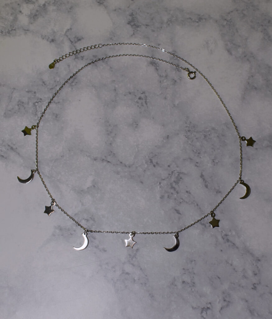 naszyjnik srebrny próba 925 z gwiazdkami i księżycami gładki