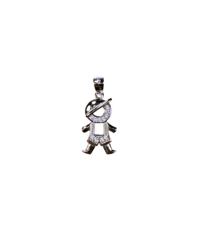 wisiorek srebrny próba 925 chłopczyk z cyrkoniami mały