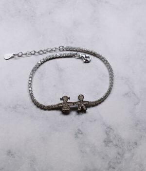 bransoletka srebrna próba 925 chłopiec z dziewczynką z cyrkoniami przedłużka
