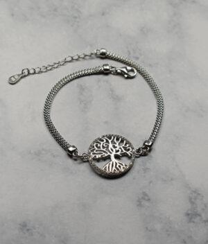 bransoletka srebrna próba 925 drzewko w kółeczku na łańcuszku płaska żmijka cyrkonie