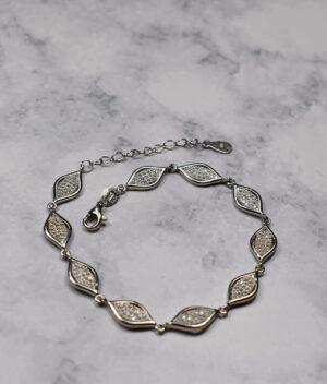 bransoletka srebrna próba 925 łezki z cyrkoniami białe wieloelementowa z przedłużką