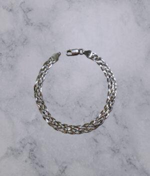 bransoletka srebrna próba 925 plecionka taśma rodowana szerokość 6mm