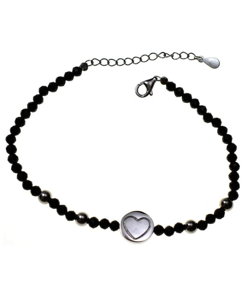 bransoletka srebrna próba 925 serduszko koraliki czarne przedłużka