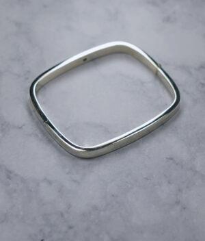 bransoletka srebrna próba 925 sztywna bangle prostokątna szerokość 5,3mm