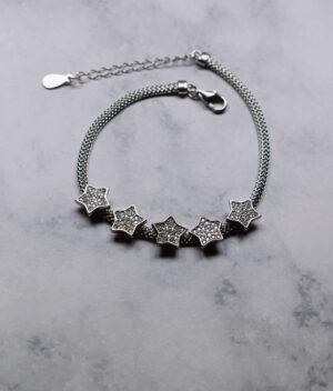 bransoletka srebrna próba 925 z gwiazdkami i cyrkoniami na łańcuszku żmijka