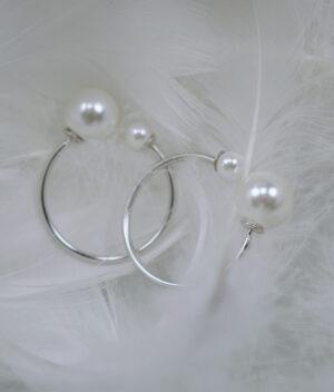 kolczyki srebrne próba 925 koła z perełkami szarniry