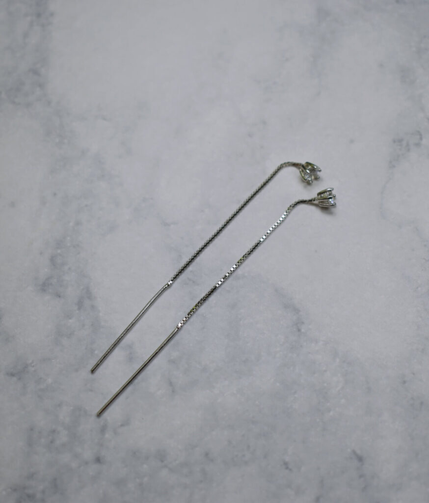 kolczyki srebrne próba 925 przeciągane przez ucho cyrkonia