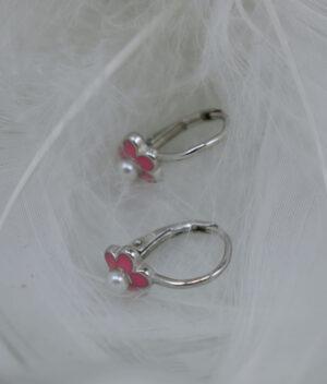 kolczyki srebrne próba 925 różowy kwiatek emalia zapięcie angielskie