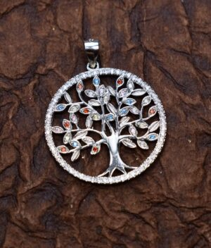 wisiorek srebrny próba 925 Drzewko Szczęścia duży kolorowe cyrkonie