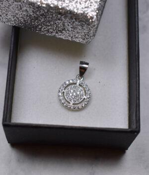 wisiorek srebrny próba 925 błyszczące kółko mały cyrkonie