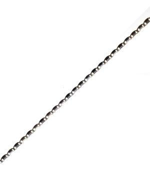 łańcuszek srebrny próba 925 ozdobny rodowany gładka blaszka długość 42cm