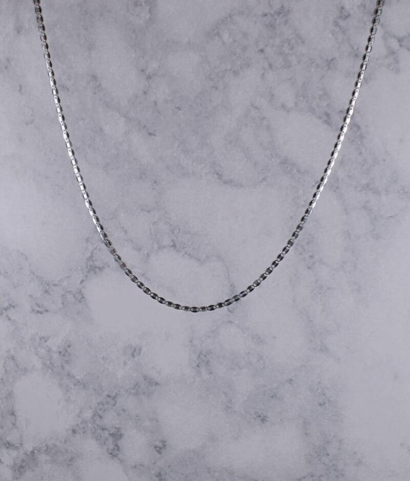 łańcuszek srebrny próba 925 ozdobny rodowany gładka blaszka długość 55cm