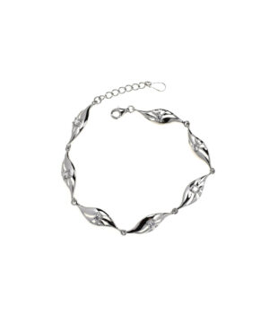 bransoletka srebrna próba 925 łezka z cyrkonią rodowana wieloelementowa przedłużka