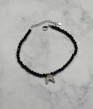 bransoletka srebrna próba 925 skrzydełka pełne z koralikami czarne przedłużka