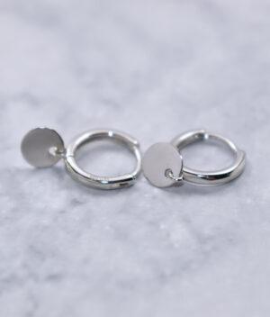 kolczyki srebrne próba 925 Tiny Circle gładkie rodowane zapięcie angielskie