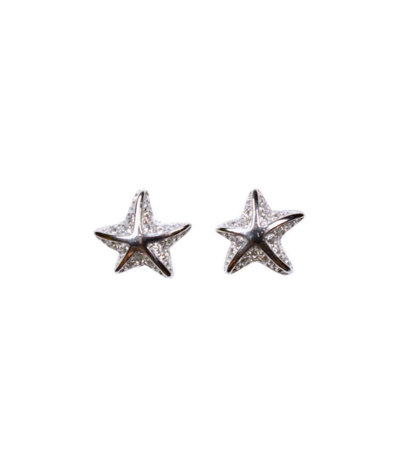 kolczyki srebrne próba 925 rozgwiazdy na sztyft cyrkonie wkrętki