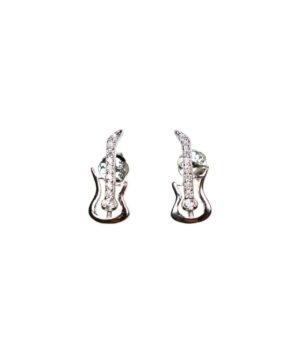 kolczyki srebrne próba 925 wkrętki gitara rodowane cyrkonia na sztyft