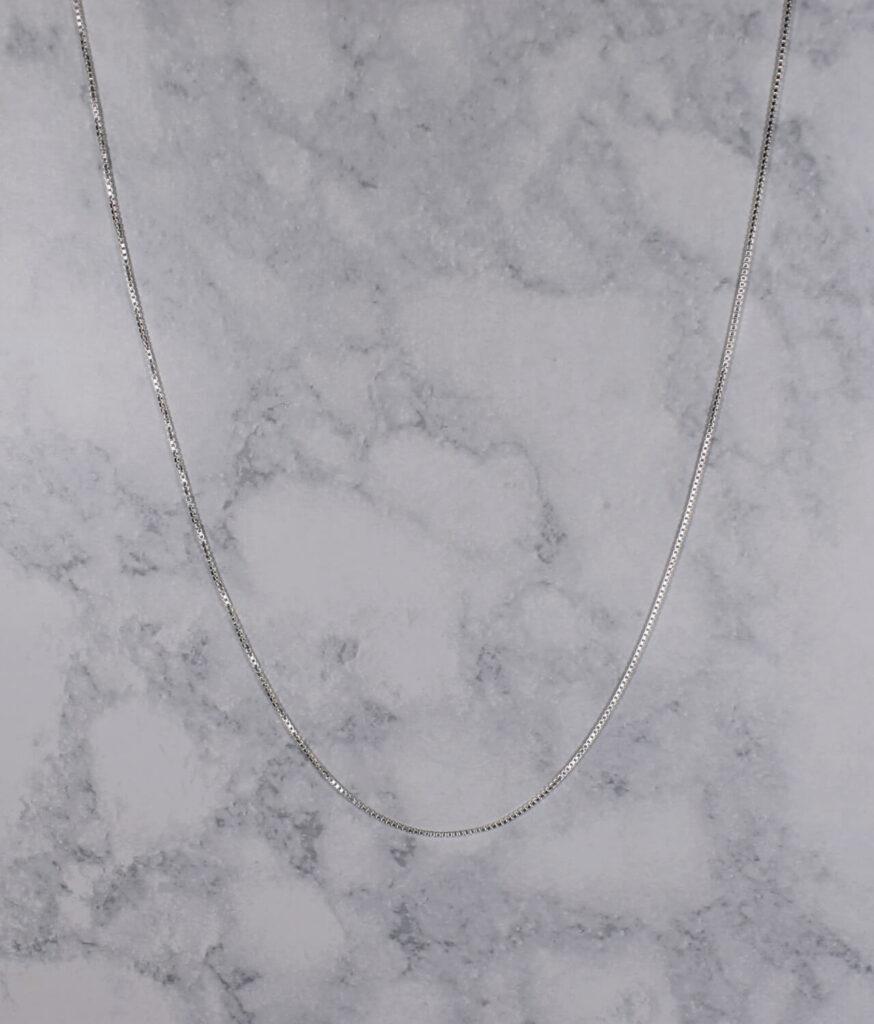 łańcuszek srebrny próba 925 cienka kostka 45cm grubość 1,1mm